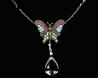 Crystal Butterfly Pendant Charm With Black Stone Teardrop Pear Shape Drop Beads Beaded Chain Necklace Aqua AB Purple