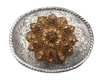 Vintage Embellished Women's Belt Buckle - Sunflower Rhinestone Victorian - Flower - Western - Beaded - Mothers Day Gift Idea