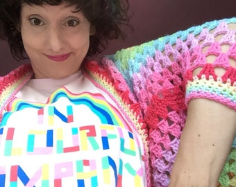 Kittypinkstars wrap me in a pastel rainbow hug shrug MADE TO ORDER