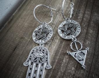 Tribal silver hoop 666 Janine Hamsa 666