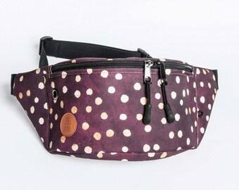 dots on burgundy fanny  pack, bum bag, hip pouch, handmade, slow fashion, zala szyje