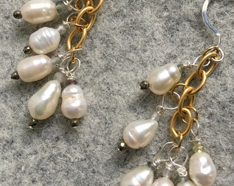 Pearl and Pyrite earrings