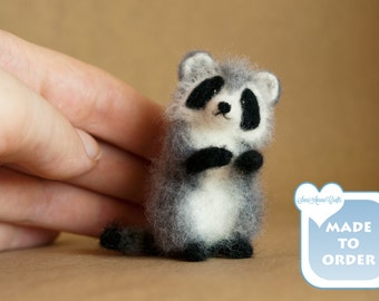 OOAK Needle felted raccoon miniature / TINY / handmade / unique / for doll house / fairy garden / pendant / made to order / by SaniAmani
