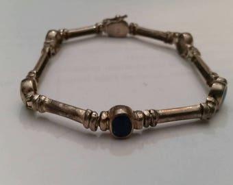 Vintage Sterling Silver Lapis Bracelet 950