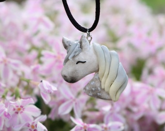 Polymer clay (Fimo) dapple gray horse necklace