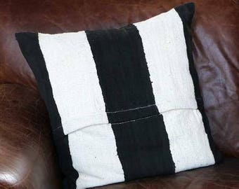 Malian Black and Natural Striped Mudcloth Pillow