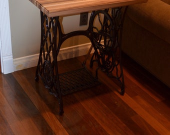 Vintage Singer Sewing Machine Treadle Table with Butcher Block Top