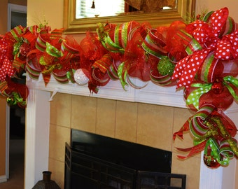 Red and Green Garland with Stripes and Polka Dots - Example Only