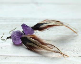 raw amethyst and feather earrings