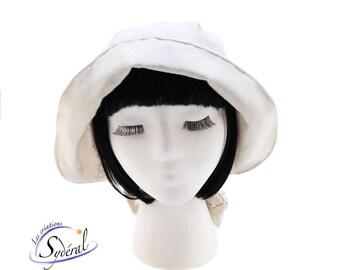 New France bonnet, headgear, raw cotton, ladies costume hat