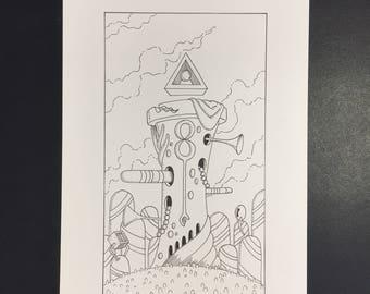 16-La Maison Dieu, Illustration originale à l'encre noire