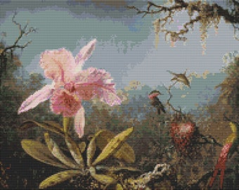 Floral Cross Stitch Kit, Cattelya Orchid Cross Stitch, Embroidery Kit, Art Cross Stitch, Martin Johnson Heade