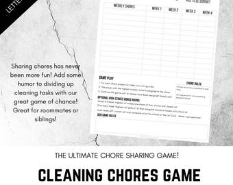 roommate cleaning chart