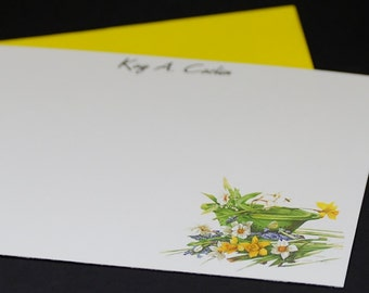 Daffodils, personalized postcards, set of 8 flat greeting cards