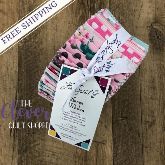 Jelly Roll, Strips, Free Spirit Fabric, Gazebo, Floral, Polka Dot, Stripes, Pink, Blue, Green, Precut Fabric, Navy, Teal,