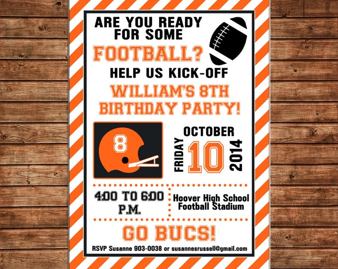 Boy Invitation Football Tailgate Sports Team Birthday Party - Can personalize colors /wording - Printable File or Printed Cards