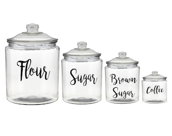 Canister Vinyl Decals, Canister labels, Kitchen vinyl set, Canister sticker set, Pantry Decals, Pantry labels Set of 4, Pantry Vinyl Labels