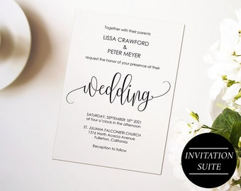 Wedding Invitation Template, Wedding Invitations DIY, Printable Wedding Invitation Set, Invitation Suite, INSTANT DOWNLOAD B1BW