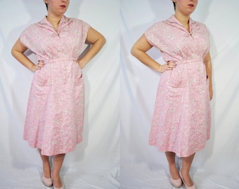 Vintage 60s Pink Housewife Dress Floral Day Wear Mad Men House Dress Casual Mid Length Shirtwaist Dress Knee Length Rockabilly Dress