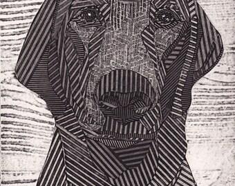 Black Labrador Retriever, Original Black and White Collograph, Black Lab, Dog Print - Charlie 2