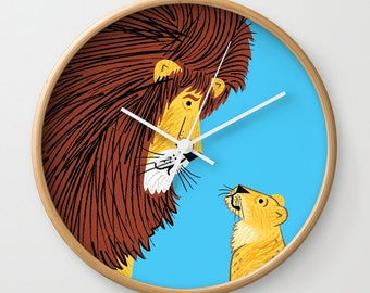 Listen To The Lion - wall clock - children's illustrated wall clocks - by Oliver Lake - iOTA iLLUSTRATiON