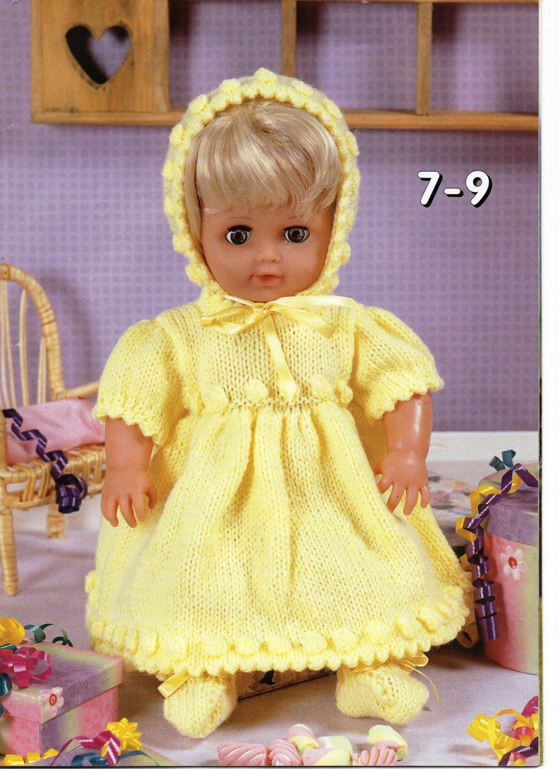 baby dolls clothes knitting pattern dolls dress bonnet bootees girl ...
