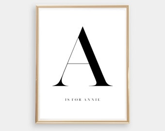 Customized Letter Art Print // Initial print // Personalised name / Monochrome / typography // Digital Print / Home Decor // Black and White