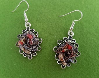 Victorian style earrings, Victorian style, Victorian earrings, Vintage style earrings, William Morris, red rose earrings, Victorian jewelry