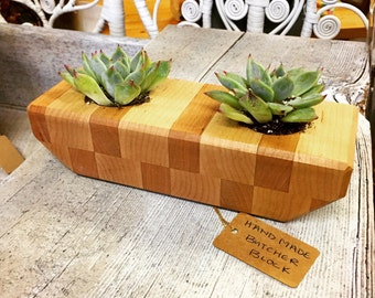Handmade Butcher Block mini planters OR for votive candle holders