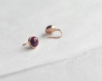 Red-glaze ceramic earrings, Ceramic earrings 18K rose gold earrings Ruby red earrings Au750 earrings Red and gold Gift for wife-boohua