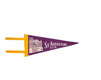 Vintage St. Augustine Florida Fountain Of Youth Felt Flag Pennant