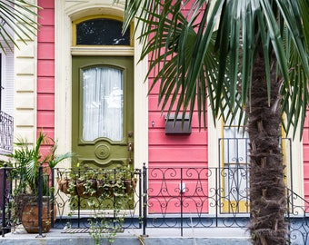 New Orleans Pink House Palm Tree Greeting Cards