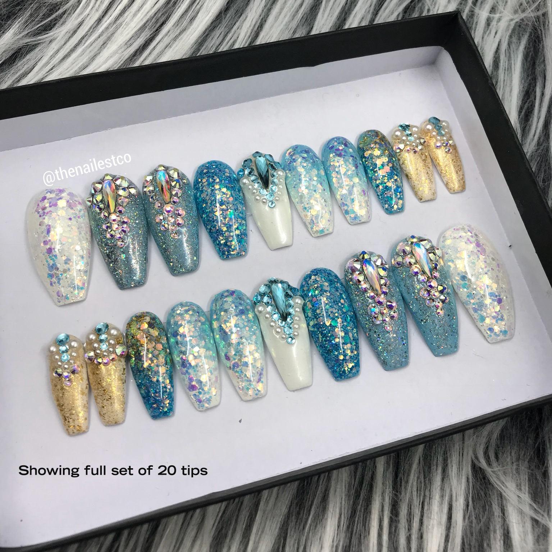 Blau türkis Ombre Glitter Swarovski Crystal Fairy Staub
