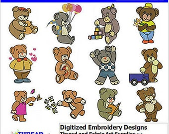 Embroidery Design Cd - Bears(1) - 12 Designs - 9 Popular Formats - Threadart