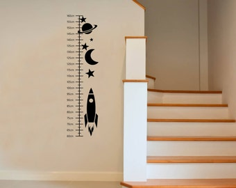 Kids Fun Height Chart, Space Stars and Moon Wall Art Decal