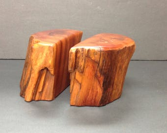 Live Edge Wooden Wood Bookends Rosewood California MCM