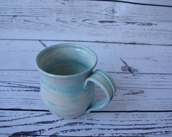 Tiffany Style Blue Wheel Thrown Ceramic Mug with Feather Handle and Stamped Detail