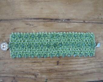 Pale Green Hand-beaded Bracelet