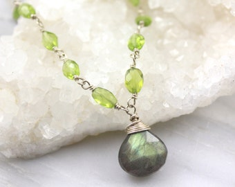 Peridot and Labradorite Briolette Wrapped Silver Necklace