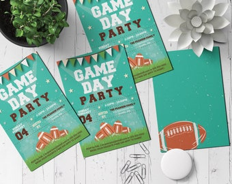 5x7 Printable Football Game Day Party Invite | Editable PDF Template | Big Game Party Invitation | DIY Invitation | Tail Gate Party