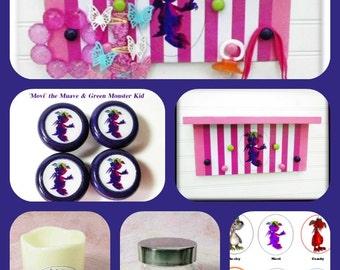 Kids & Babies Organizer Collection, 4 Piece Set Featuring 'Movi' the Mauve Monster Kid Includes Shelf, Flameless Candle, Knob Set, Glass Jar