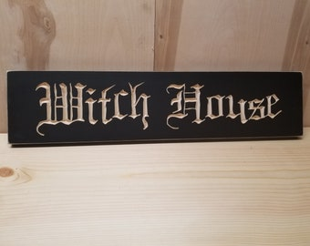 Witch House  | 2Ft Carved Wooden Sign | Witchcraft Wicca Pagan Gothic Home Decor Occult Halloween
