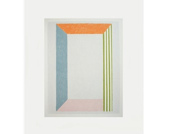 Silkscreen print, Geometric handpulled original on quality paper by Emma Lawrenson. As seen in Anthropologie, Stripes, minimal art