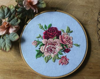 Vintage flowers embroidery, , embroidery hoop, hoop art, home decor, wall decor