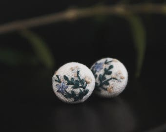 WILD BUNCH | Embroidered Fabric Stud Earrings