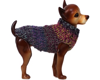 Colorful Dog Sweater Hand Knit