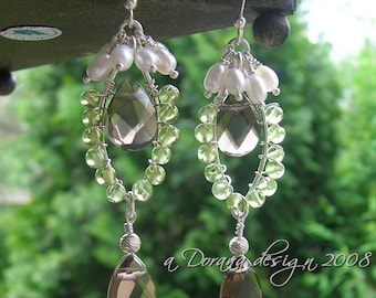 GAIA -Mother Earth- Chandelier Pearl, Peridot, Smoky Quartz Faceted Pear & Silver Earrings  - Natural Green Wedding -Handmade by Dorana