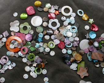 set of 30 assorted pearl beads colors, shapes and sizes