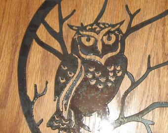 Owl in Tree Metal Art