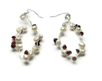 Garnet pearl earrings, red white earrings, wirework earrings, drop earrings